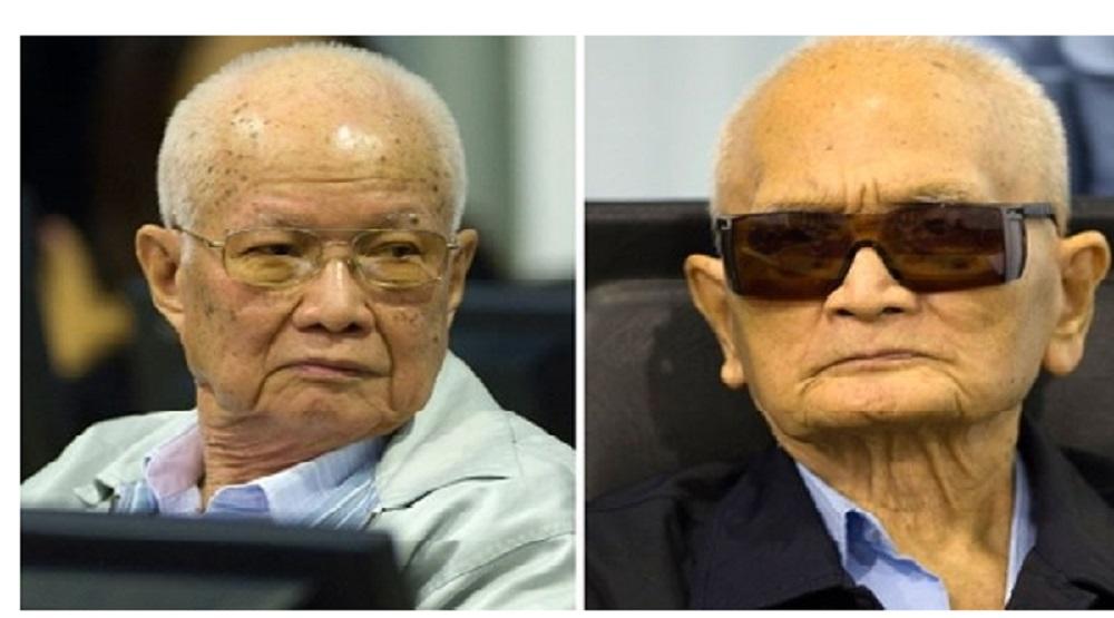 Khieu Samphan (trái) và Nuon Chea (phải) tại tòa án tội ác chiến tranh do LHQ hậu thuẫn tại Phnom Penh.(Nguồn: Internet)