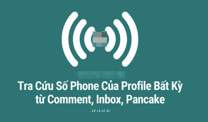 """Công cụ """"soi"""" số điện thoại từ tài khoản Facebook được đăng công khai trên mạng. (Ảnh chụp màn hình)"""
