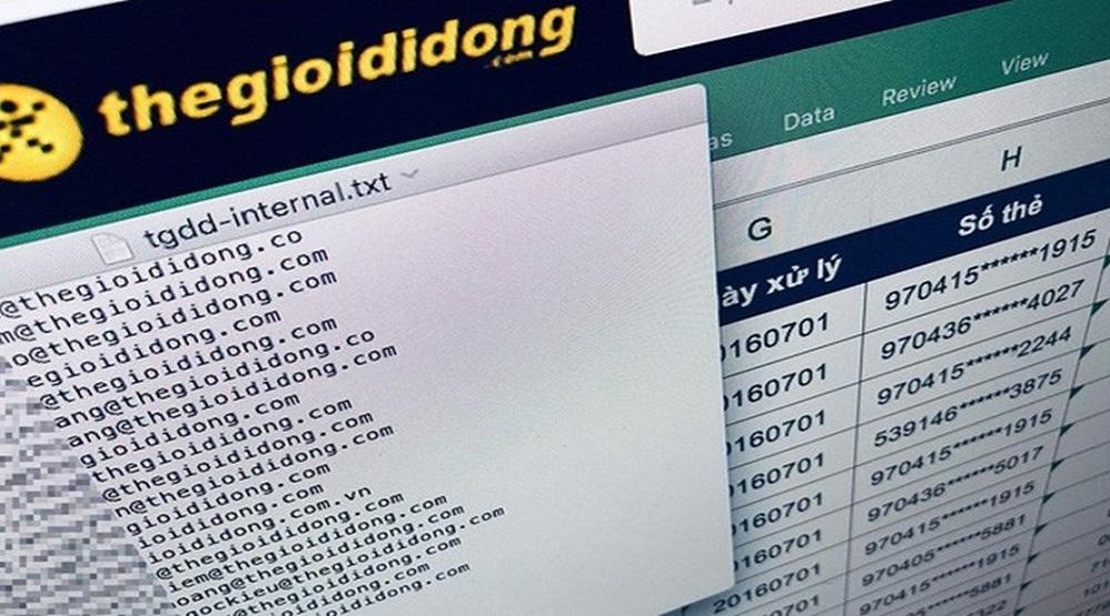 Thông tin số thẻ tín dụng được cho là của khách hàng đã giao dịch tại Thế Giới Di Động bị tung lên mạng.(Nguồn: Internet)