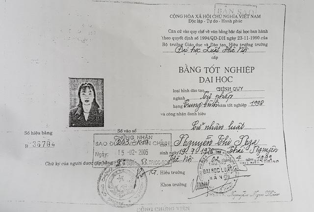Lộ vụ bà Nguyễn Thị Nga - Thẩm phán TAND Thái Nguyên dùng bằng cử nhân luật giả.