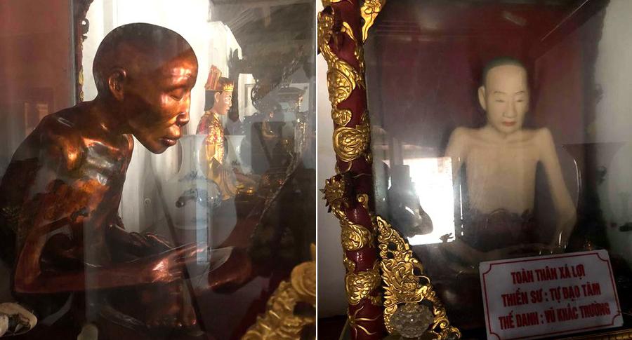 Nhục thân xá lợi của 2 vị thiền sư ở chùa Đậu. (Ảnh qua VTCNews)