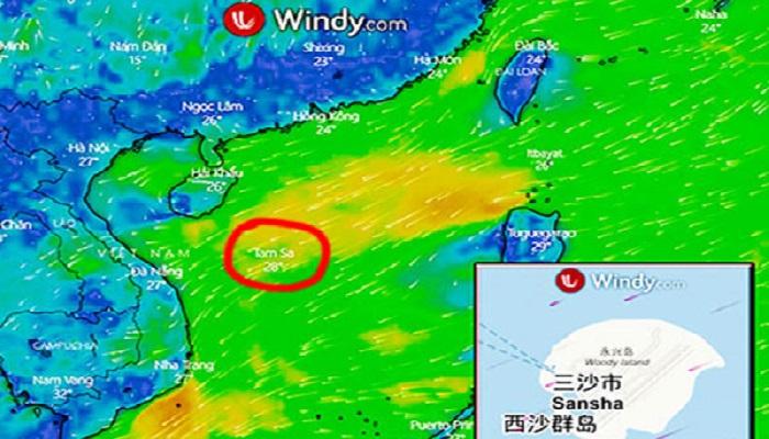 Trang Windy.com chú thích quần đảo Hoàng Sa là Tam Sa.
