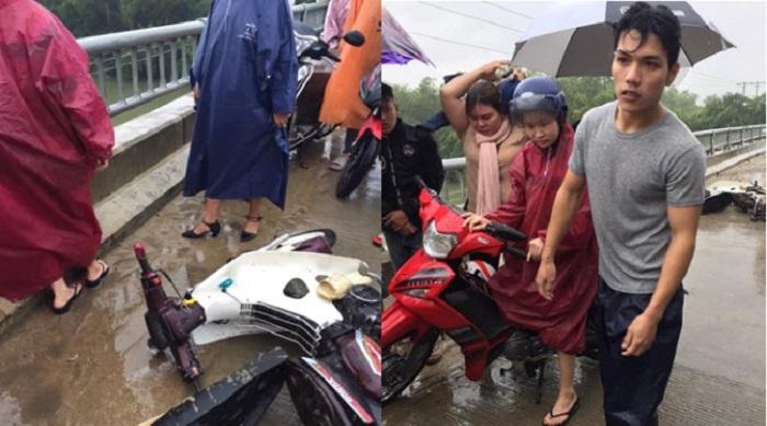 Đang chở bạn gái, thanh niên bất ngờ nhảy xuống sông cứu người giữa trời mưa gió. Ảnh 1