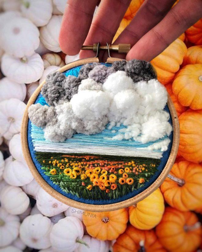 Kỹ thuật thêu 3D miêu tả sống động vẻ đẹp của thiên nhiên mây trời. 6
