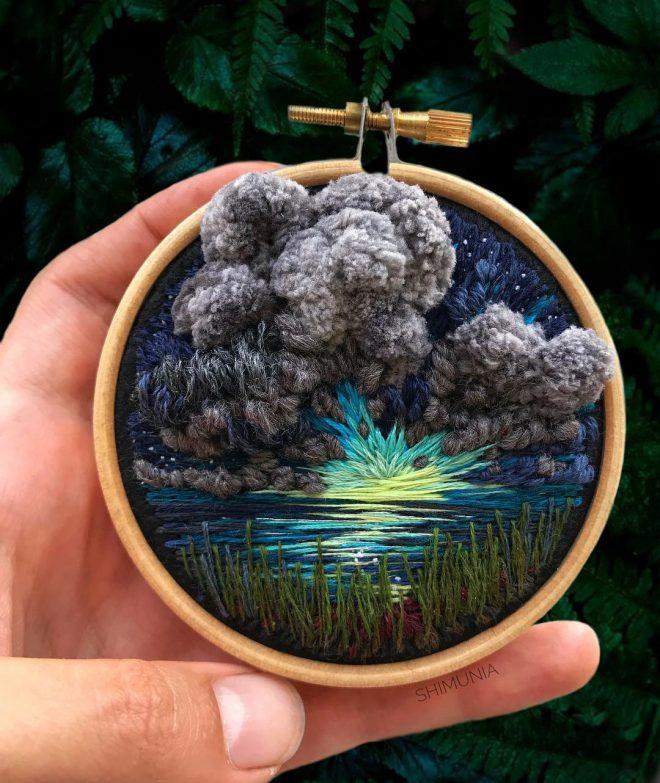 Kỹ thuật thêu 3D miêu tả sống động vẻ đẹp của thiên nhiên mây trời. 7