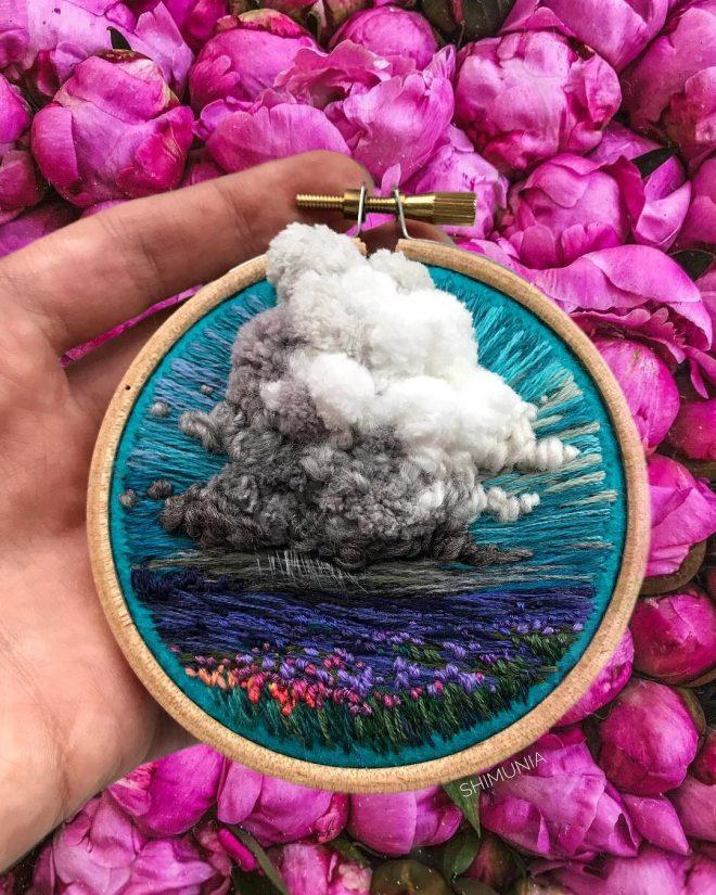 Kỹ thuật thêu 3D miêu tả sống động vẻ đẹp của thiên nhiên mây trời. 9