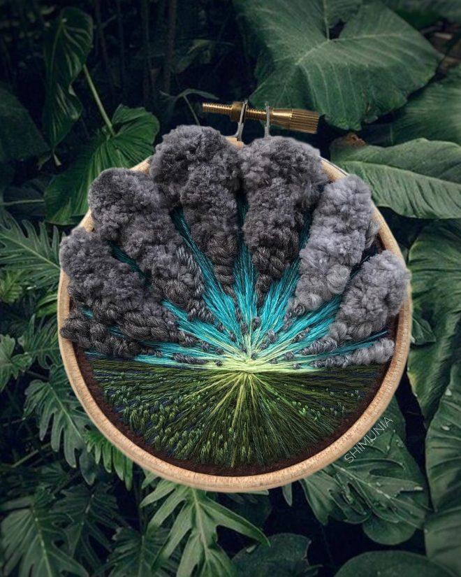 Kỹ thuật thêu 3D miêu tả sống động vẻ đẹp của thiên nhiên mây trời. 10