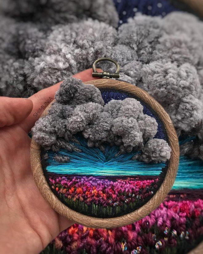 Kỹ thuật thêu 3D miêu tả sống động vẻ đẹp của thiên nhiên mây trời. 11