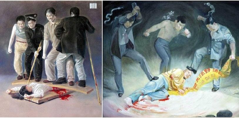Những con người hiền lành bị giết hại, cả vùng Thần Châu chìm trong máu và nước mắt. (Tranh qua minghui.org)