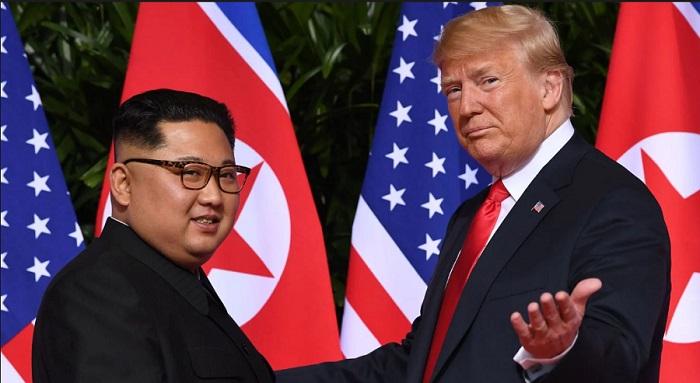 Tổng thống Trump và ông Kim tại hội nghị thượng đỉnh lần một. (Ảnh: Getty)