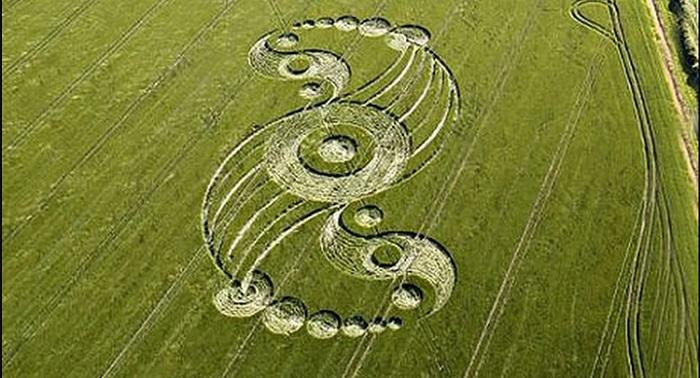 Những vòng tròn khổng lồ với biểu tượng Thái cực trên cánh đồng được cho là của người ngoài hành tinh. (Ảnh: Google Plus)