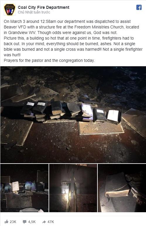 Sở cứu hỏa đưa tin trên Facebook. (Ảnh: Fb sở cứu hỏa)