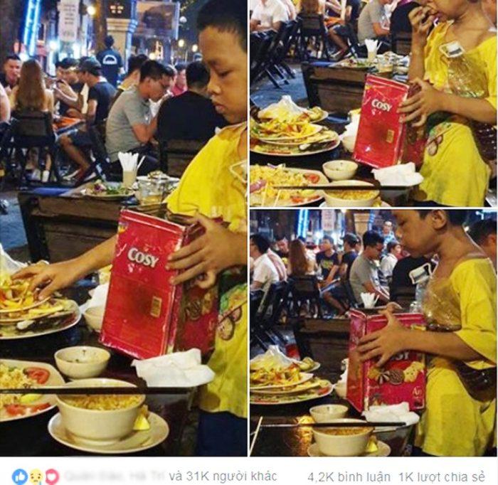 Cay sống mũi cảnh cậu bé lấm lem nhặt đồ ăn thừa lấp đầy bụng đói. 1