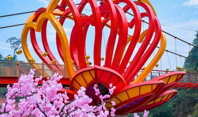 Cầu kính đầu tiên tại Việt Nam chính thức khánh thành thu hút hàng trăm du khách. Ảnh 1