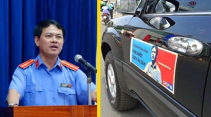 Nhiều người tỏ ra bất bình bằng cách dán hình ông Nguyễn Hữu Linh lên xe