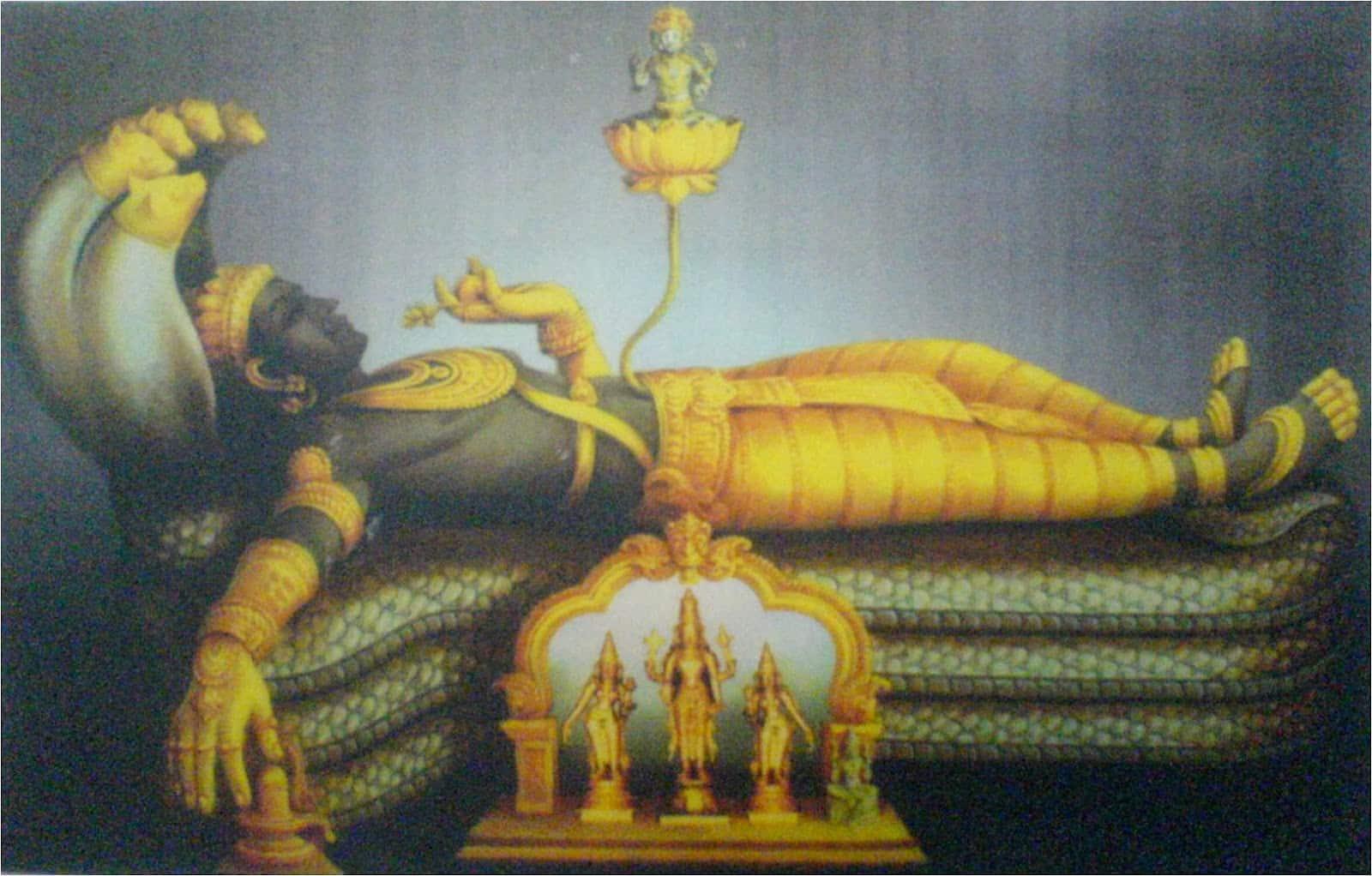 Biểu tượng của ngôi đền có vị thần Brahma ngồi trên một bông hoa sen, mọc ra từ rốn của thần Vishnu. (Ảnh qua trithucvn.net)