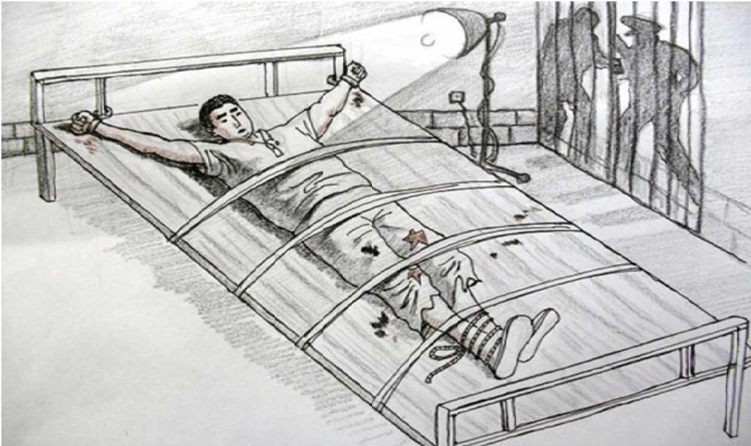 Tranh minh họa hình thức tra tấn bằng cách còng tay, trói trên giường và chiếu ánh sáng cường độ cao trong thời gian dài. (Ảnh: MingHui.org)