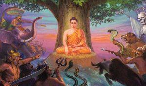 Quỷ Mara đến quấy phá Đức Phật Thích Ca Mâu Ni khi Ngài ngồi dưới gốc cây bồ đề. (Ảnh qua Pinterest)