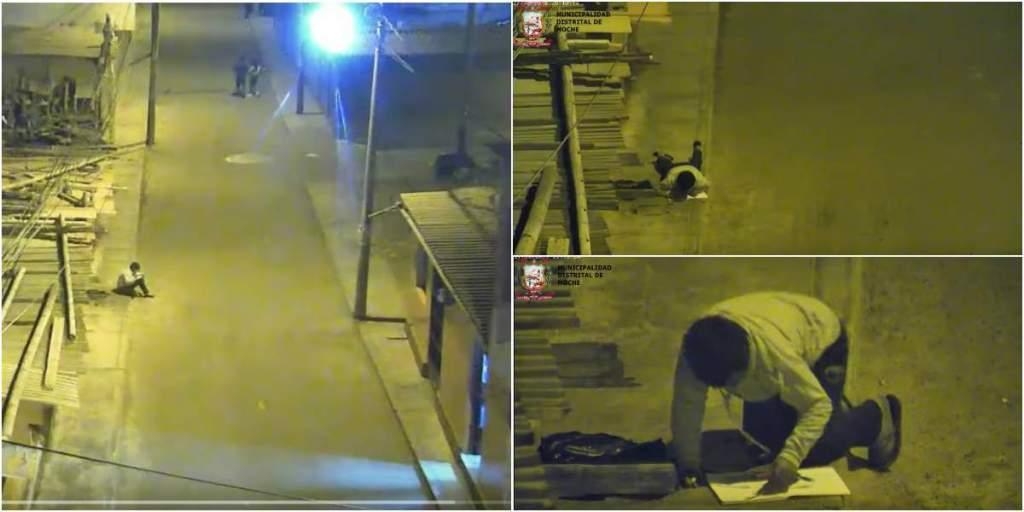 Hình ảnh Víctor học bài dưới ngọn đèn đường được trích xuất từ camera an ninh của sở cảnh sát địa phương. Ảnh: Oddity Central