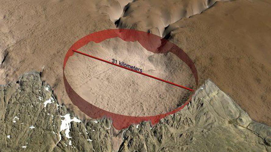 Miệng hố rộng 31km vừa được phát hiện ở Greenland. (Ảnh minh họa qua Canal Antigua).