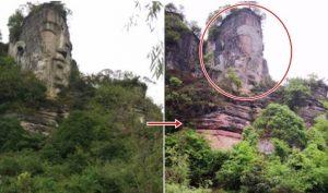 Trung Quốc: Chính quyền dùng xi măng 'lấp phẳng' mặt tượng Phật