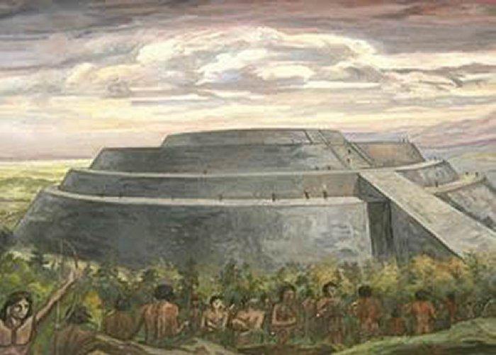Bức tranh khắc họa nền văn minh Cuicuilco từng tồn tại trong lịch sử. (Ảnh: revistabuenviaje.com)