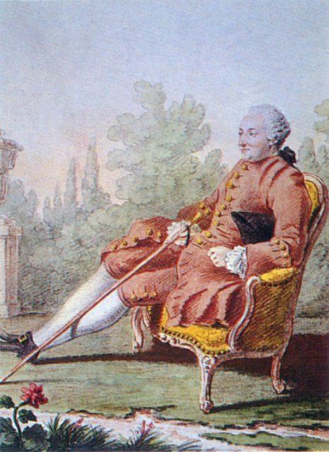 Paul-Henri Thiry, Nam tước d'Holbach của Louis Carmontelle. Màu hồng được coi là màu sắc mạnh mẽ và nam tính.