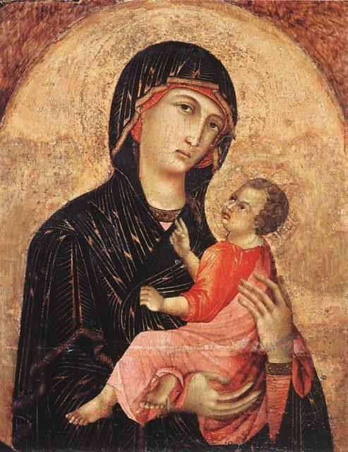 Bức vẽ Chúa Kitô lúc nhỏ mặc đồ màu hồng của họa sĩ Duccio. (Ảnh qua The Vintage News)