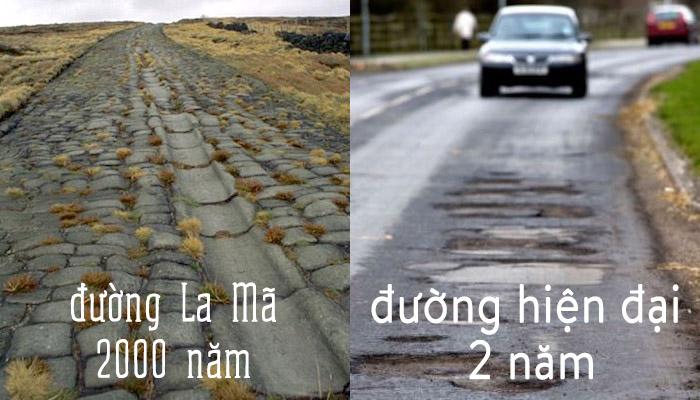 Đường xá được xây dựng từ thời La Mã cổ đại so sánh với đường xá hiện đại. (Ảnh qua Trí Thức VN)
