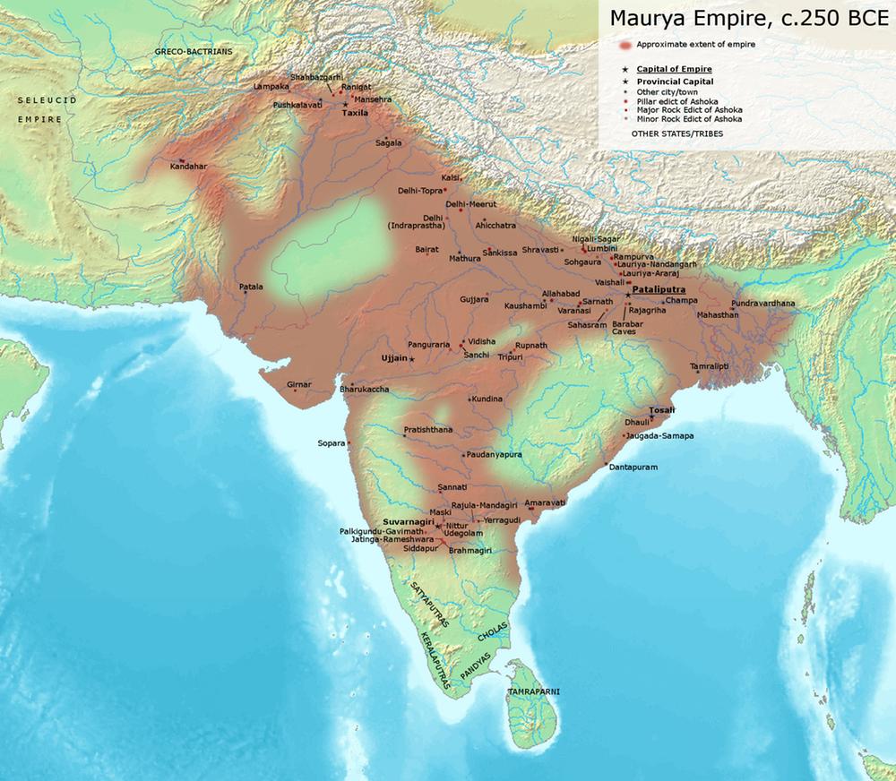 Đế chế Maurya rộng lớn trong khoảng năm 250 TCN. (Ảnh: Avantiputra7/Wikimedia Commons , CC BY-SA)
