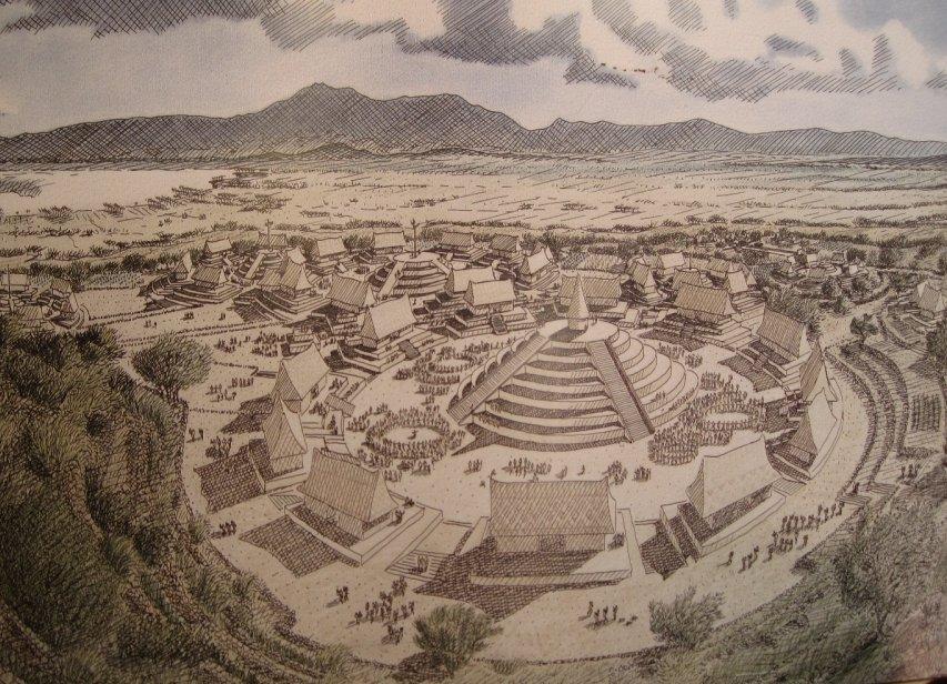 Bức họa về vùng đất Guachimontones cổ xưa. Guachimontones từng là nơi sinh sống của khoảng 40.000 người, có một nền văn hóa độc đáo, được gọi là Truyền thống Teuchitlán. Đó là một trong những nền văn hóa tiền Tây Ban Nha từng phát triển thịnh vượng ở miền tây Mexico.