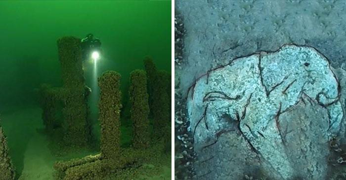 Công trình các tảng đá lớn được sắp đặt giống tượng đài cự thạch Stonehenge nằm dưới đáy hồ Michigan, Mỹ. (Ảnh qua DKN)