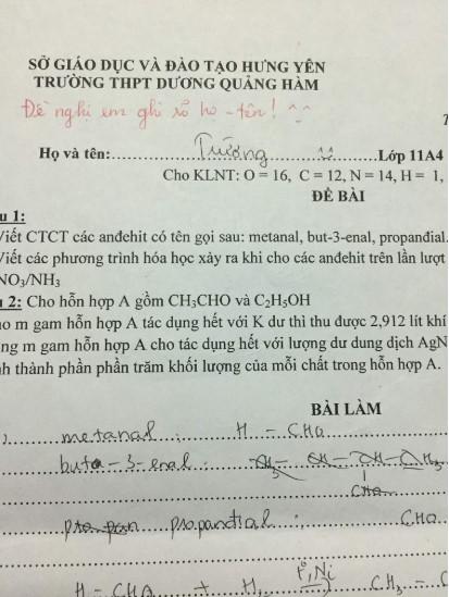 Tổng hợp những tình huống quên ghi tên của những học sinh trong phòng thi.5