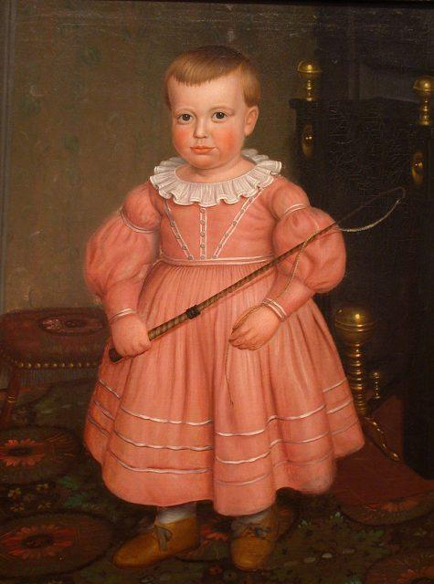 """Bức tranh """"Cậu bé mặc váy hồng"""" vào thập niên 1840."""