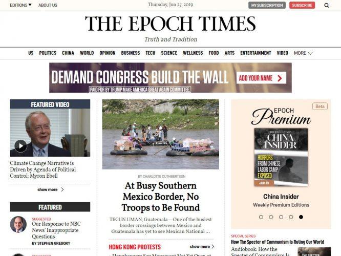 Giao diện trang chủ của phiên bản trực tuyến www.theepochtimes.com. (Ảnh qua Eflip)