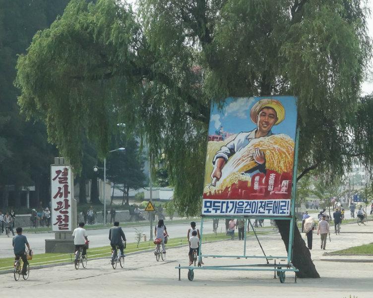 """Tấm biển này ghi rằng: """"Mọi sự tập trung, mọi lực lượng huy động. Tất cả hãy hướng về cuộc chiến thu hoạch!"""". Đó là tấm biển quảng cáo tuyên truyền khích lệ người dân tham gia mùa vụ hàng năm."""