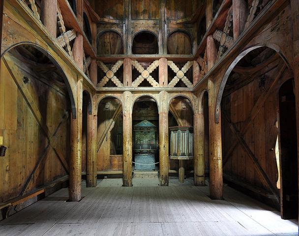 Nhà thờ Borgun với nội thất bên trong làm bằng gỗ. (Ảnh qua en.wikipedia.org)