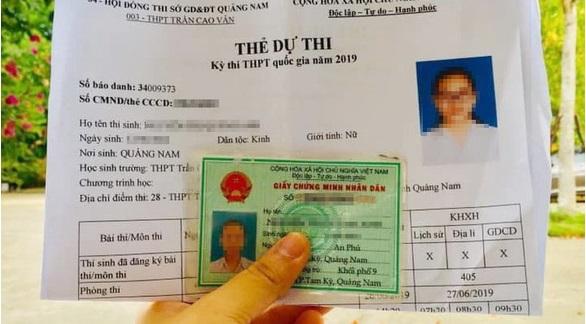 Thẻ dự thi của thí sinh N.Q.A. dự kỳ thi THPT Quốc Gia được tên trộm để lại.