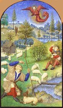 Tranh của họa sĩ người Pháp, Simon Marmion từ thế kỷ thứ 15 có vẽ một túp lều của người chăn cừu ở đằng xa.