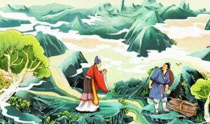 Trong câu chuyện về Bát Tiên, Lã Động Tân cũng hóa thành người hành khất, giúp đỡ một người con có hiếu trở thành thần y.
