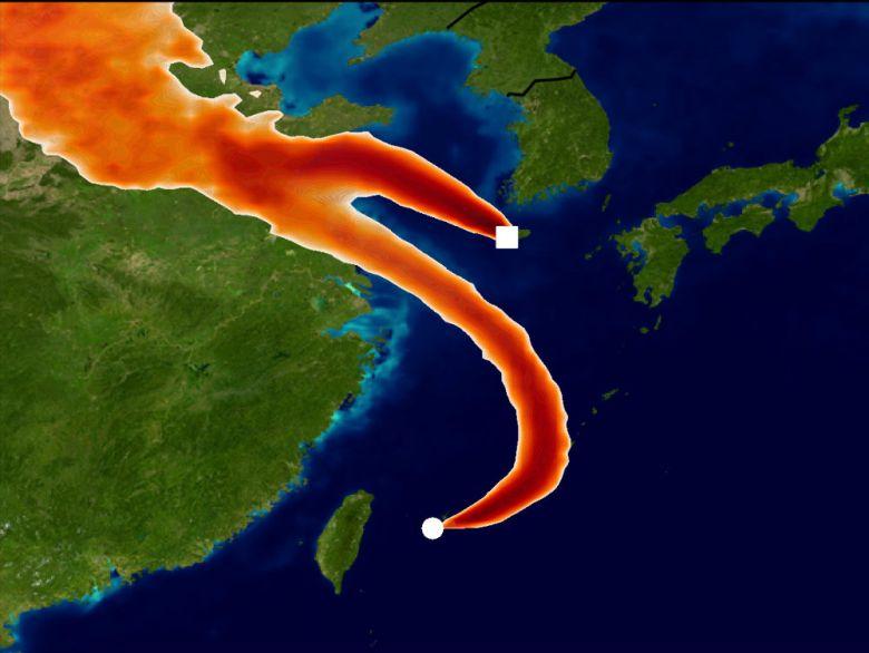Trong đồ họa này, các trạm giám sát tại Nhật Bản và Hàn Quốc phát hiện ra lượng khí thải bắt nguồn từ các khu vực phía đông Trung Quốc đại lục. (Ảnh qua National Post)