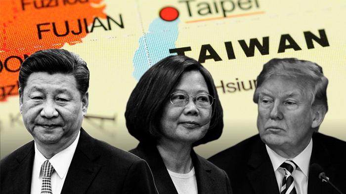 Từ tráng sang: Chủ tịch Trung Quốc Tập Cận Bình, Tổng thống Đài Loan Thái Anh Văn và Tổng thống Mỹ Donald Trump. (Ảnh: Financial Times)
