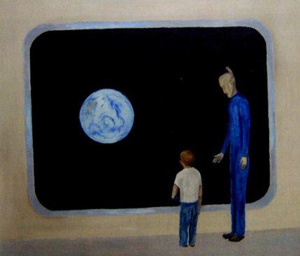 Bức tranh vẽ người ngoài hành tinh có sừng mà ông Huggins gặp lúc nhỏ. (Ảnh CE)