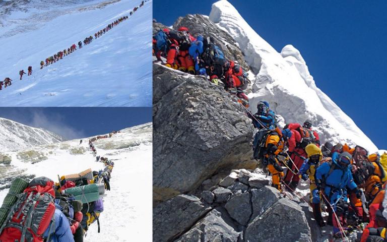 Quá nhiều người đến chinh phục đỉnh Everest trong tháng 5 vừa qua. (Ảnh qua Astro Ulagam)