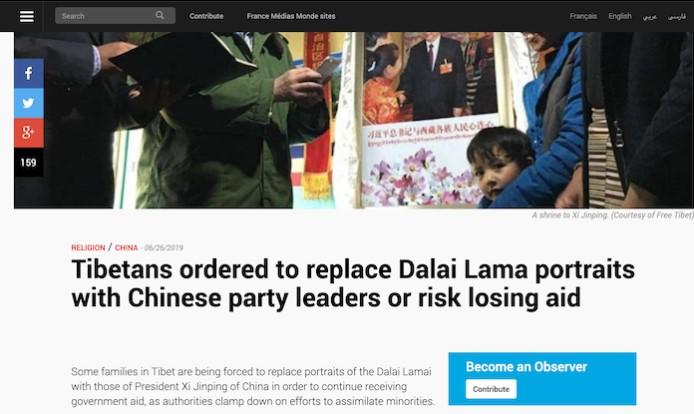 Người Tây Tạng bị cưỡng chế thay chân dung Đạt Lai Lạt Ma bằng ảnh lãnh đạo Trung Quốc.1