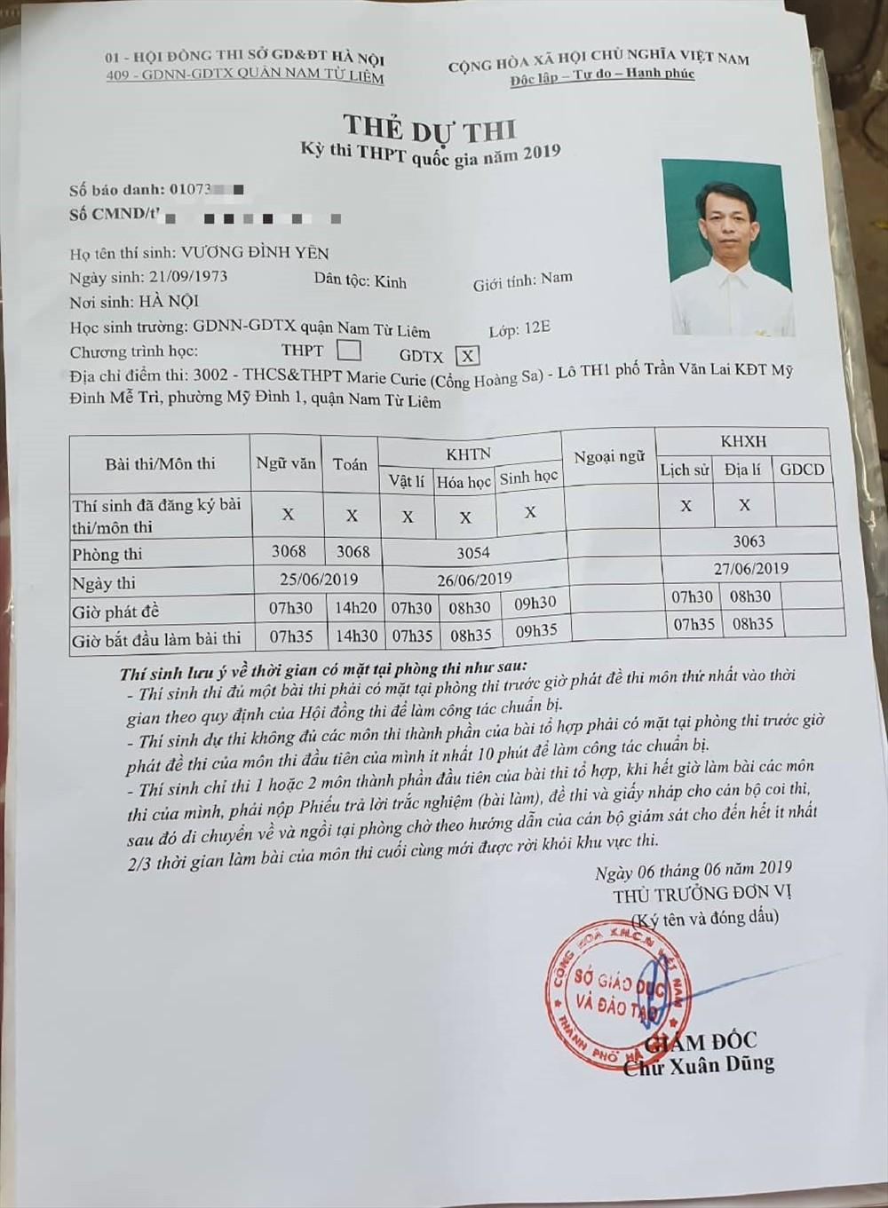 Thẻ dự thi của thí sinh 47 tuổi.