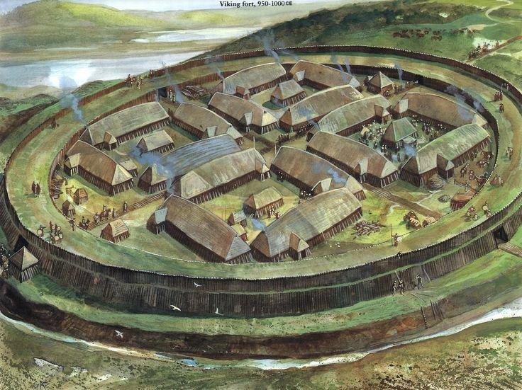 Hình vẽ pháo đài tròn của người Viking. (Ảnh qua Ancient Pages)