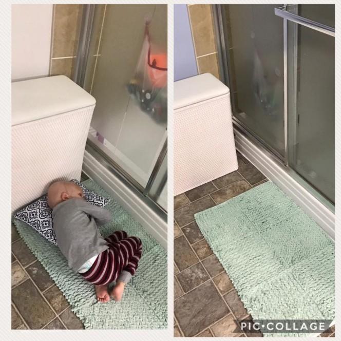 Không muốn rời xa mẹ trong những giờ phút ngắn ngủi còn lại, Nolan cuộn tròn người nằm đợi mẹ trước cửa phòng tắm. (Ảnh qua boredomtherapy)