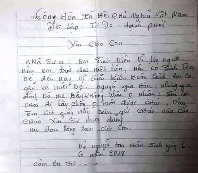 Lá thư người mẹ để lại chùa với lý do bỏ con vì.. còn đi lấy chồng