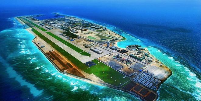 Đá Chữ Thập trong quần đảo Trường Sa của VN bị Trung Quốc chiếm đóng và xây dựng thành đảo nhân tạo phi pháp, biến nơi đây thành căn cứ quân sự